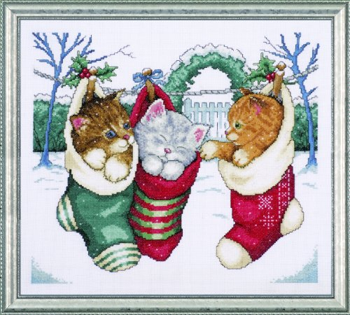 (Tobin 5979 Cozy Kittens Counted Cross Stitch Kit, 12-Inch by 14-Inch, 14 Count )