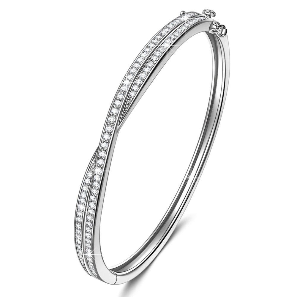 NINASUN Bangle Bracelet for Women Fine Jewelry Shall We Dance s925 Sterling Silver AAA CZ Infinity Bracelet Birthday Gifts for Wife Gifts for Women Anniversary Gift from for Girlfriend Gifts for Her