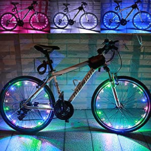 LEDMO(2 pack)Rechargeable Bicycle Bike Rim Lights, Bicycle Wheel Wire Rim 20 LED Cycling Flash Light, LED Colorful Wheel Lights, Perfect for Safety and Fun Multi color Chargeable