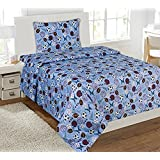 Twin Size Mk Collection 3pc Sheet Set Light Blue Baseball Basketball Football Soccer Sport New by MK Collection