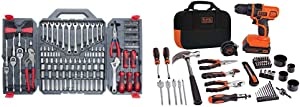 Crescent 170 Pc. General Purpose Tool Set - Closed Case - CTK170CMP2 & BLACK+DECKER 20V MAX Drill & Home Tool Kit, 68 Piece (LDX120PK), Black/Orange