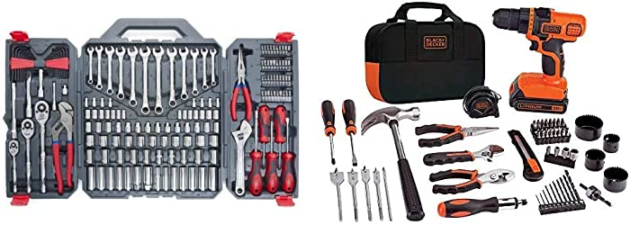 Crescent 170 Pc. General Purpose Tool Set - Closed Case - CTK170CMP2 & BLACK+DECKER 20V MAX Drill & Home Tool Kit, 68 Piece (LDX120PK), Black/Orange