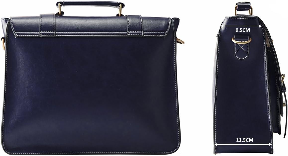 ECOSUSI Sac Cartable Vintage pour Femme Sac /à Main R/étro Sac /École Port/é /épaule Sac Bandouli/ère Sac dOrdinateur Portable 14 Bleu