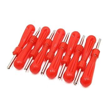 Sourcingmap - 10 Piezas Rojo Sola Cabeza de válvula de Rueda Stem Core Remover Llave para Coche Auto: Amazon.es: Coche y moto