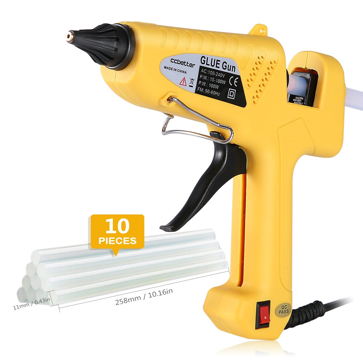 Hot Glue Gun , CCbetter 100W Hot Melt Glue Gun Adjustable High Temperature Melt Adhesive Glue Gun with 10 pcs Glue Sticks for DIY, Craft, Sealing, Repairs, Light and Heavy Duty, Yellow
