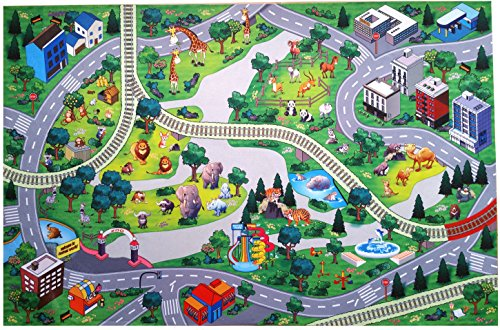 d Zoo Play Mat with Roads and Train Tracks ()