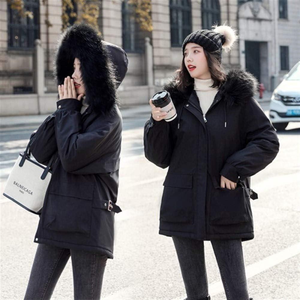 Lijincheng Down Jacket Doublure de coton matelassé chaud femmes Veste d'hiver Plus Size Vestes Casual femme capuche Outwear col en fausse fourrure Parka à capuche Mujer Black