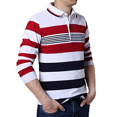 daf04eb525cb refulgence Men s Tunic Crew Neck Long Sleeves Button Stripe T-Shirt ...