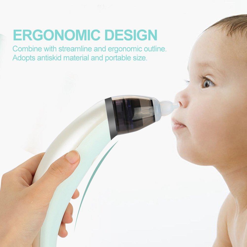 Cocoarm Nasensauger Baby Nasal Aspirator Elektrische Nase Snot Sauger Nasenschleimentferner Sicherer und Schneller Sowie Hygienischer Nasal Saugvorrichtung mit USB Aufladen und 2 Gr/ö/ßen Silikon Tipps