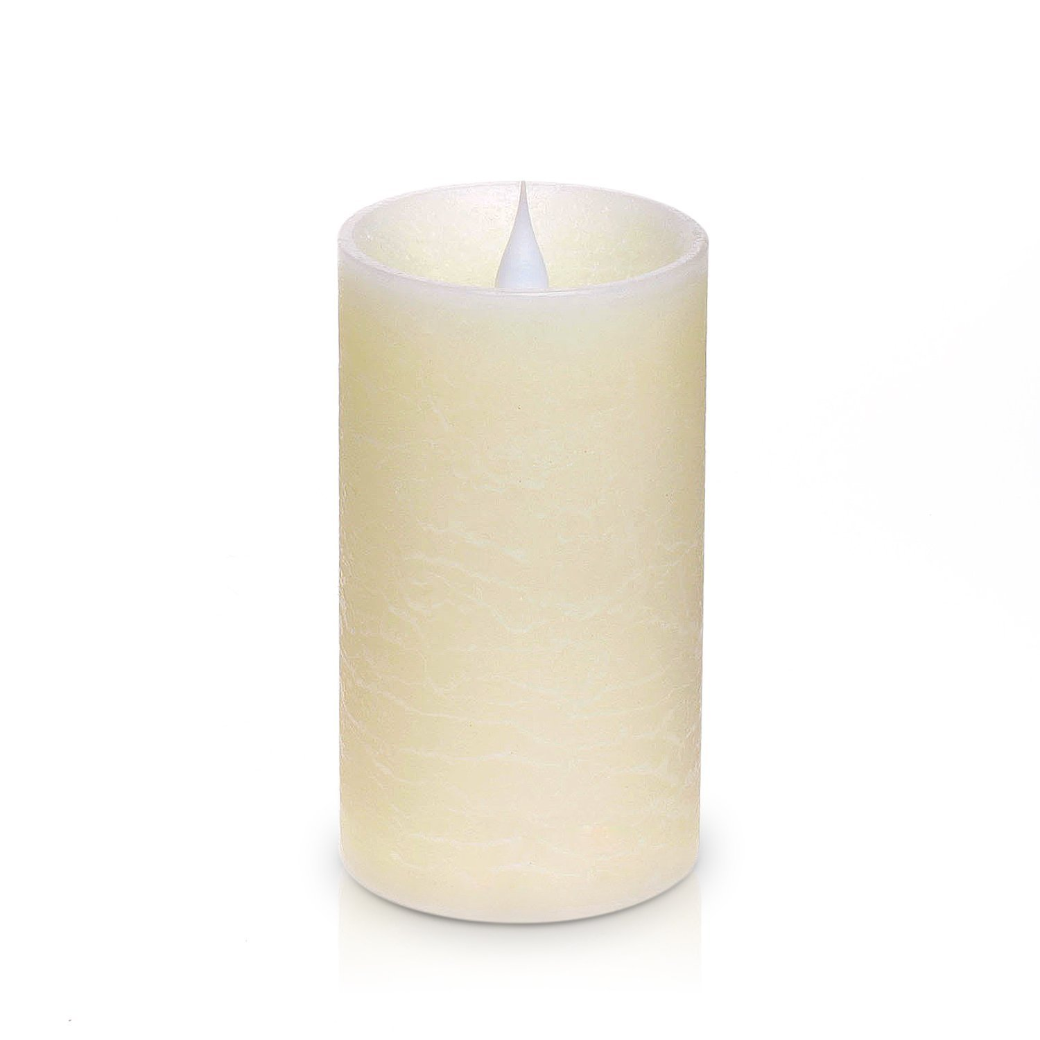 SIMPLUX Rustic Moving Flame Led Candle with Timer,3x5.25 Inches,Ivory,Pillar