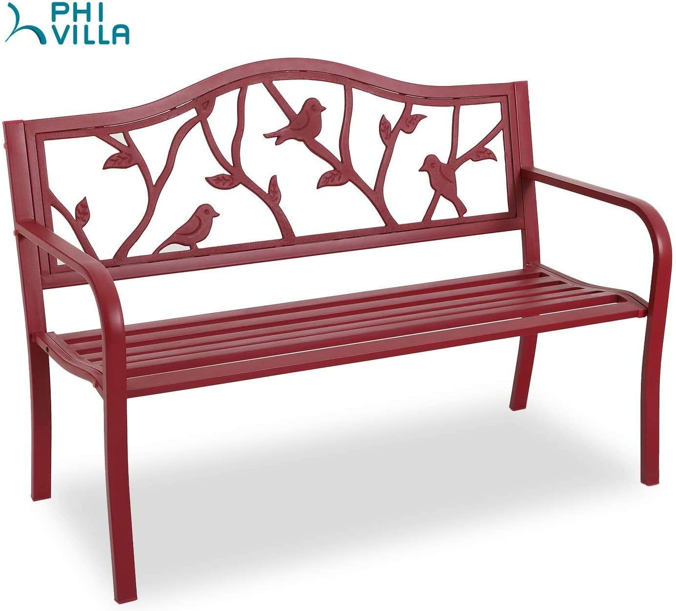 PHI VILLA Outdoor Garden Bench, 50 Steel Long Red Patio Bench for Yard, Lawn, Balcony, Porch, Red Bird Modern Bench with Backrest and Armrests