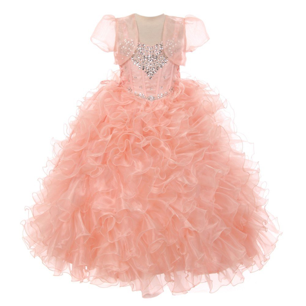 RainKids Little Girls Blush Heart Shape Beaded Organza Jacket Pageant Dress 4 by The Rain Kids