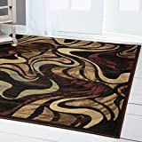 "Home Dynamix Catalina Picasso Area Rug | Contemporary Living Room Rug | Bold Swirl Designs | Earth Tones and Textures | Brown, Cream and Red 5'3"" x7'2"