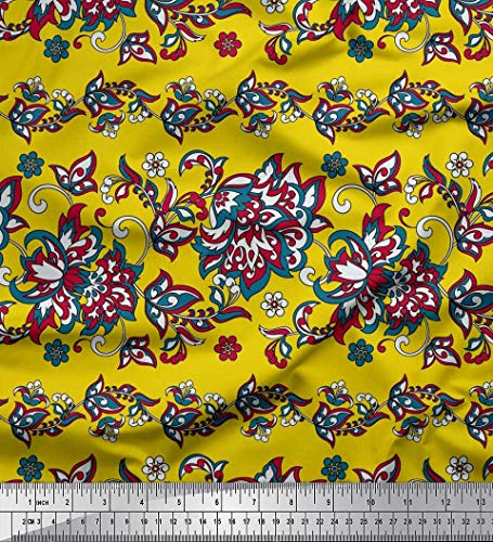 Yellow Cotton Duck - Soimoi Yellow Cotton Duck Fabric Leaves & Floral Artistic Print Fabric by Yard 56 Inch Wide