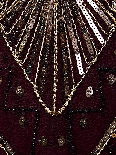 9880352f9d99 Vijiv Women 1920s Gastby Sequin Art Nouveau Embellished Fringed Flapper  Dress