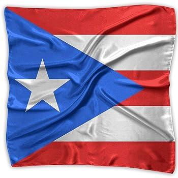 Flag Of Puerto Rico Women's Large Square Satin Head Bandanas Silk Like Neck Scarf