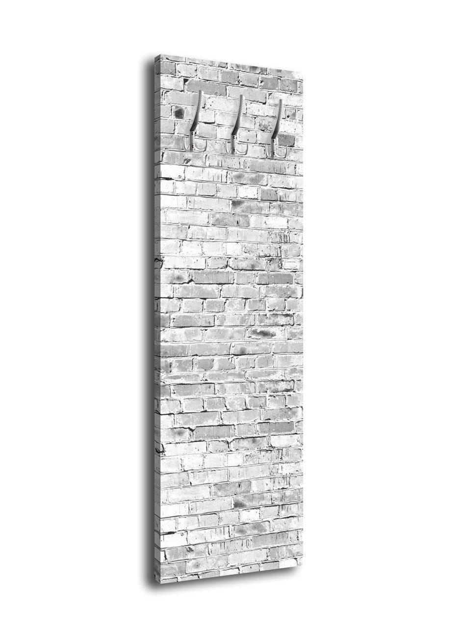 Wandmotiv24 Garderobe mit Design Klinkersteine Grau G358 40x125cm Wandgarderobe Klinker Stein Backstein