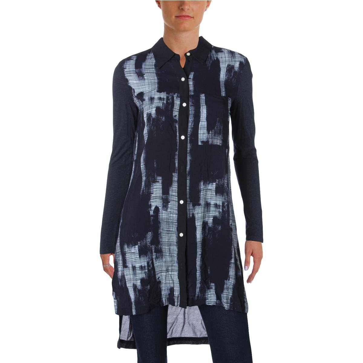 Pure DKNY Womens Printed Long Sleeves Button-Down Top Navy M by DKNY