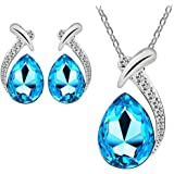 Bestpriceam Women Crystal Pendant Silver Plated Chain Necklace Stud Earring Jewelry Set (Light Blue)