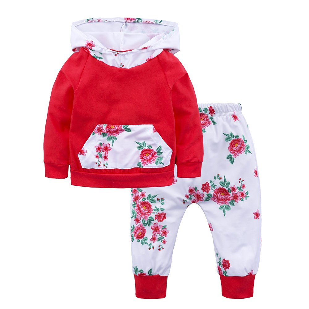 Baby Girls Floral Hoodie+ Floral Pant Set Leggings 2 Piece Outfits For 4-24M Fuzhou Shang Ku Trade Co. Ltd.