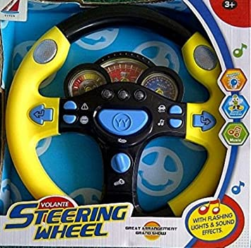 childrens toy steering wheel car pretend play with electronic flashing lights sounds