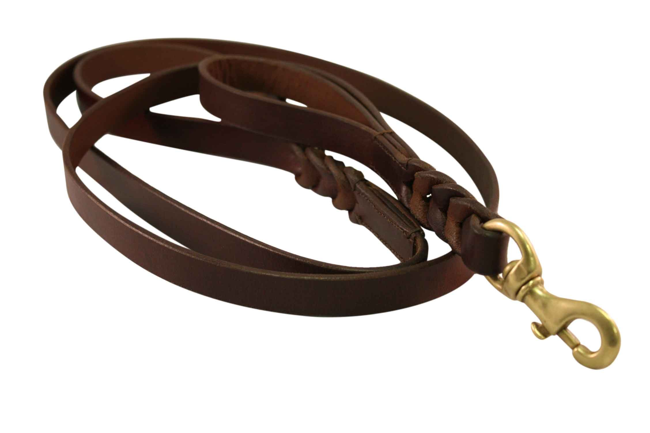 Leather Braided Leash Double Handle, 6' x 1'', Brown, Oiled Leather. Extra handle allows for traffic control