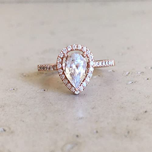 4547916477802 Amazon.com: Rose Gold White Sapphire Engagement Ring- Halo Pear ...
