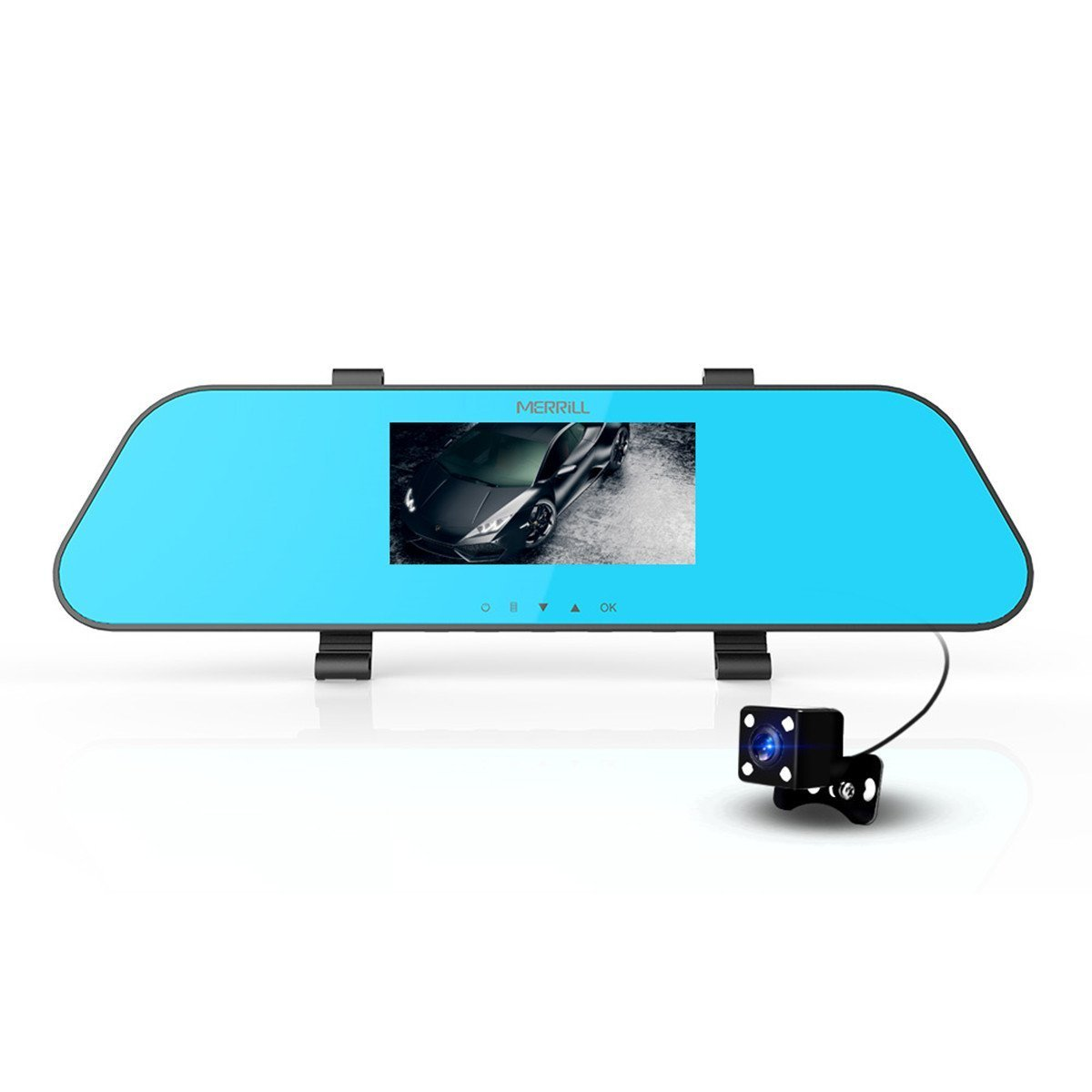 Merrill Dash Cam Dual Cameras 4.3' 1080P 12 Mega Pixel 140° Wide Angle Rear View Mirror Parking Monitor G-sensor Eye-caring Blue Glass16GB TF Card H433N