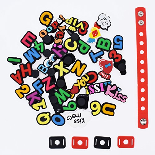 XHAOYEAHX Pack of 50 Shoe Charms of Letters Alphabet Numbers Love Kiss Words Fits for Croc Shoes & Wristband Bracelet + 4Pcs Shoe Lace Adapter + 1Pcs 7.08in Silicone Bracelet Bands by XHAOYEAHX (Image #2)