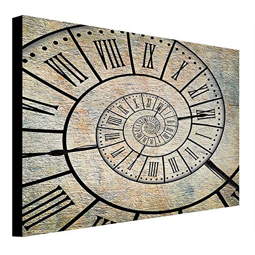 depinshangmao Clock Canvas A Roman Digit Time Spiral on The Vintage Textured Background Design Passing of Time Print Painting Sepia 47
