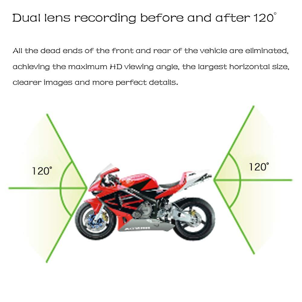Cam/éra de Moto Moto Dash Cam avec /écran ACL de 2 d/étection de Mouvement par capteur de Vision de Jour et de Nuit /à 120 degr/és