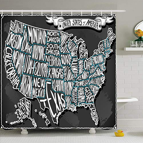 - Ahawoso Shower Curtain 60x72 Inches Georgia Texas USA United States America Vintage Utah Chalk Map Florida California Alabama Oregon Waterproof Polyester Fabric Bathroom Curtains Set with Hooks