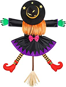 Unomor Crashing Witch into Tree Halloween Decoration, Crashed Witch Props Hanging Halloween Witch Decorations Yard Outdoor Halloween Decor for Tree Door Porch
