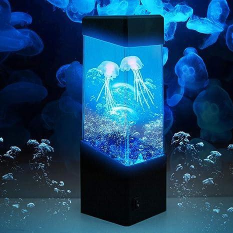 Medusas lámpara noche lámpara medusas bola del agua peces tropicales acuario luces LED ambiente relajante Luz