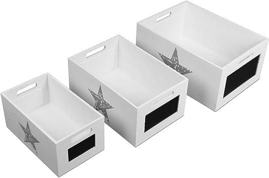 3 – Juego cajas de madera cajón multiusos caja de almacenamiento (Estrella con pizarra: Amazon.es: Bricolaje y herramientas