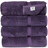 Chakir Turkish Linens Turkish Cotton Luxury Bath Towel Set of 4, Plum