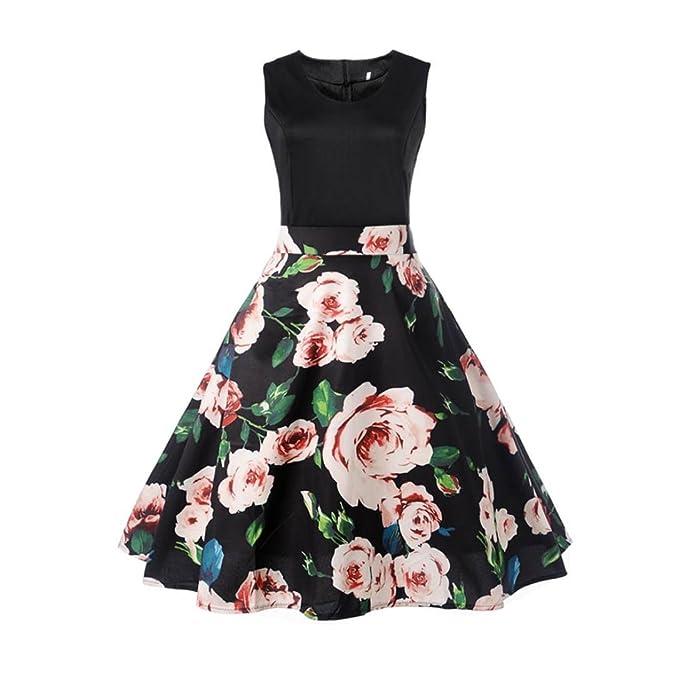 Vintage Kleid 50er Jahre BakeLIN Damen Elegant Blumendruck Kleider ...