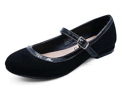 059143d357e HeelzSoHigh Girls Kids Childrens Black School Smart Flat Shoes Dolly ...