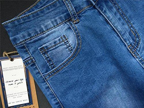 Denim Sottile Pantalone Ginocchio Donna In Disegnati Denim Vita Disegni Sottile Blue Byjia Scarno A Elastico In wzCUU