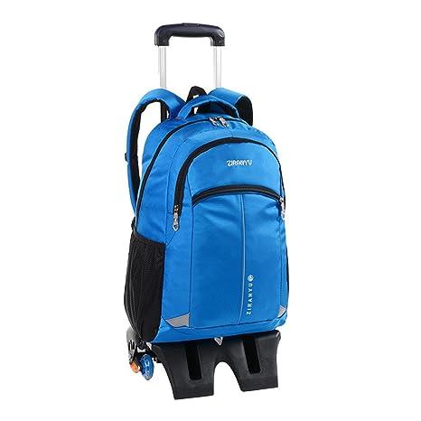 MinegRong Newset Childrens School Bag 6 ruedas carrito de niño mochila extraíble Chico Chica de alto