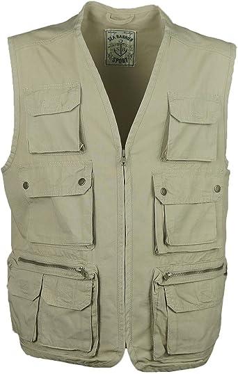 Chaleco hombre múltiples bolsillos Art Rocky 100% puro algodón ...