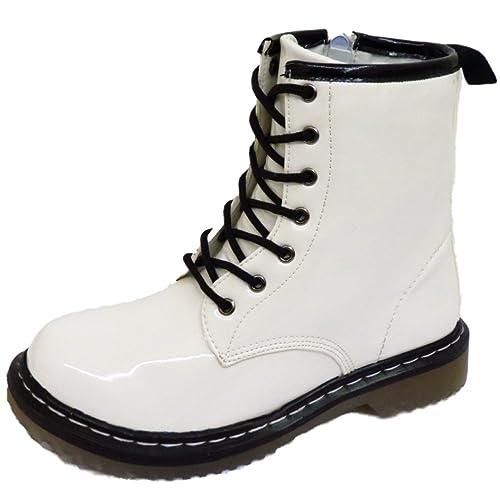 HeelzSoHigh Mujer Blanco Charol Punk con Cordones Combate Retro Tobillo Gótico Botas Tallas 3-8 - Blanco, 5 UK/38 EU: Amazon.es: Zapatos y complementos