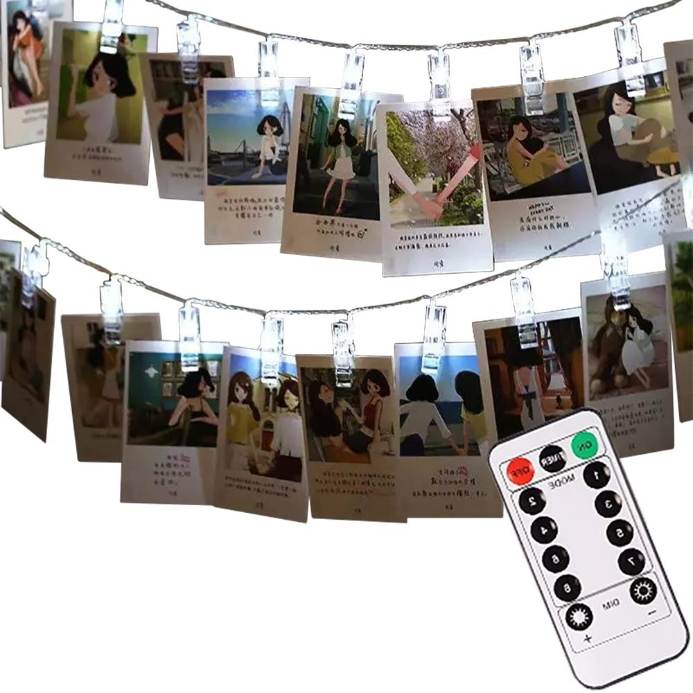 LIGHTESS Photo Clips String Battery Powered 40 LED 13ft Christmas Lights Decorations with Remote Control for Hanging Picture Cards Wedding Party Wall Decor, Cool White