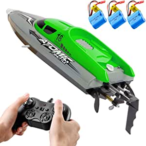 RC Boat Remote Control Boat with 30KM/H High Speed IPV7 waterproof 2.4GHz 4 Channel Racing Boat compatible with Kids Adults
