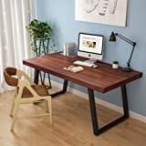 """Tribesigns 55"""" Rustic Solid Wood Computer Desk with Reclaimed Look, Vintage Industrial Home Office Desk Features Heavy-Duty Metal Base Works As Writing Desk or Study Table"""