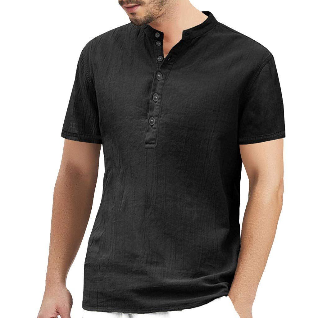 AINED-Men/'s Casual Slim Fit Shirts Pure Color Short Sleeve Polo Henley Shirt Linen Cotton Summer Loose Fit Beach Shirts