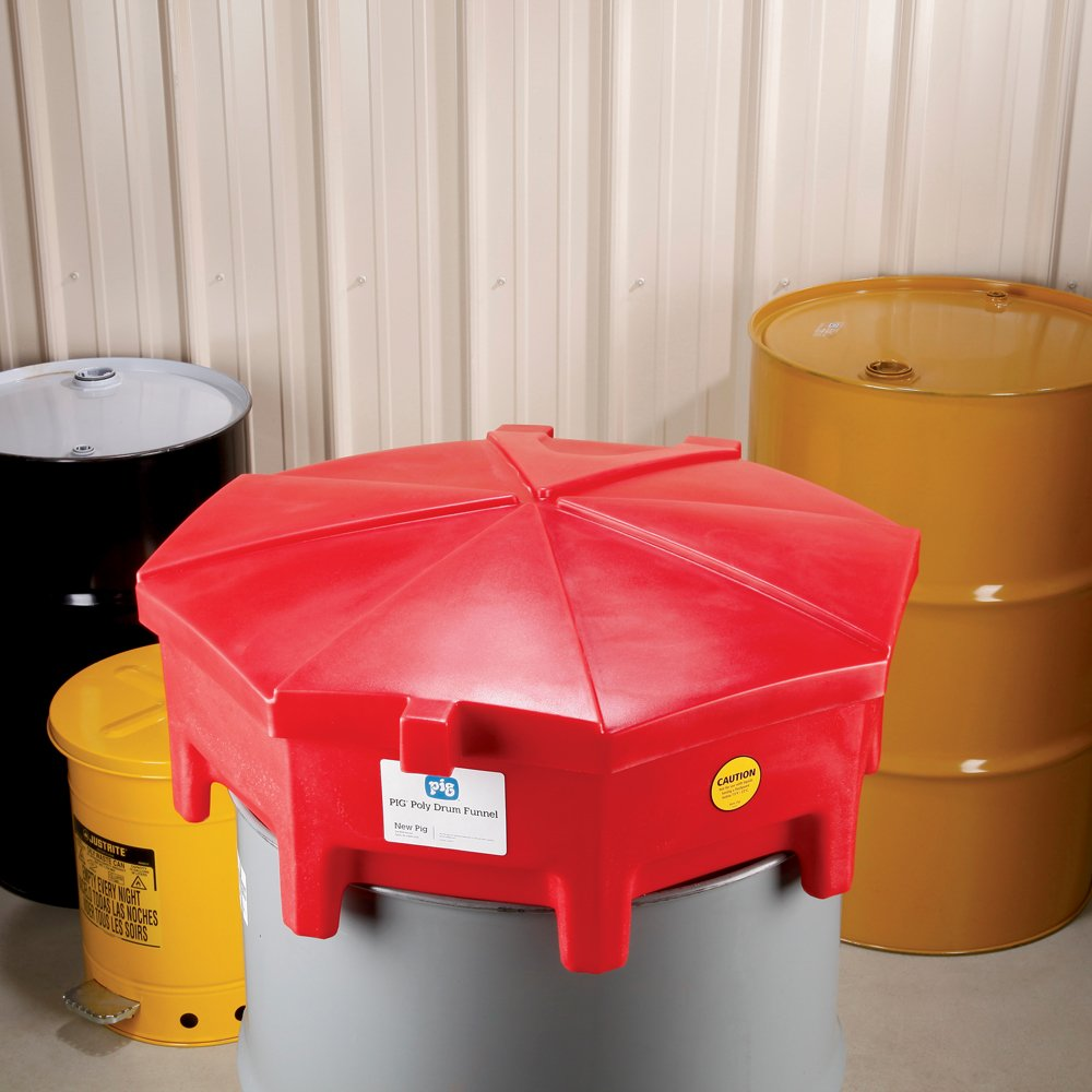 "New Pig Poly Drum Funnel with Hinged Lid, For 55 Gal Tight-Head Steel & Poly Drums, 29"" Diam x 11"" H, Red, DRM672-RD by New Pig Corporation (Image #3)"