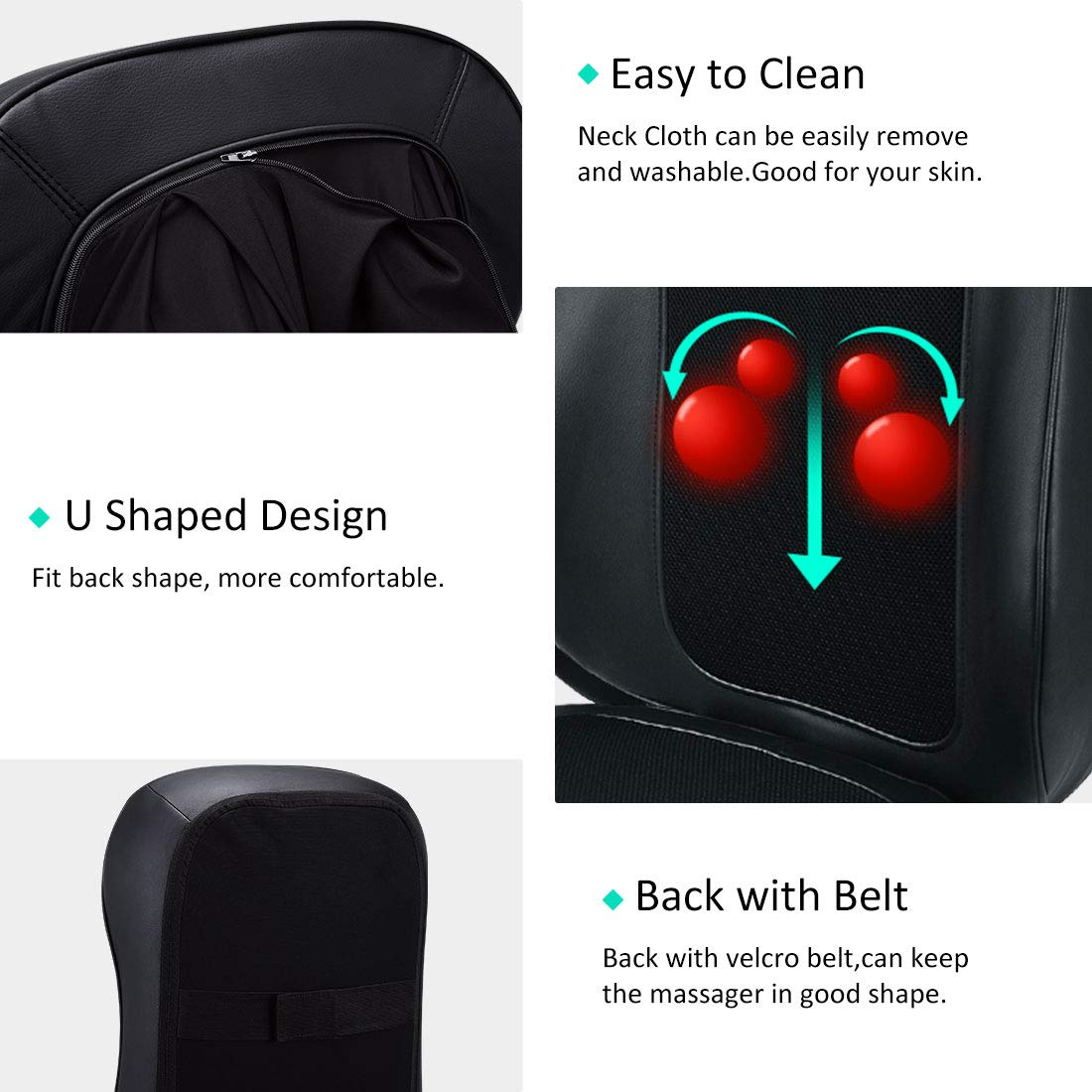 Back Massager Shiatsu Massage Seat Cushion Pad for Chair Full Back and Neck Massager with Heat, Neck Adjustable -deep Kneading Rolling Vibration for Home Office and Car Use (Black) (Massage Cushion)