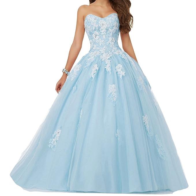 JAEDEN Mujer Vestido de Fiesta Largo Tul Sin Tirantes Vestido de quinceañera Vestido de Noche Azul