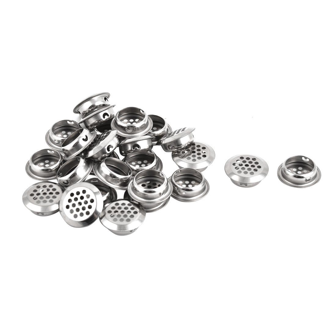 uxcell Stainless Steel Apartment Bathroom Round Mesh Hole Basin Sink Residue Strainer 25pcs